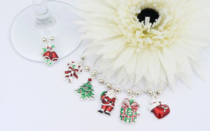 Christmas Wine Glass Charms -with Gift Bag and Label