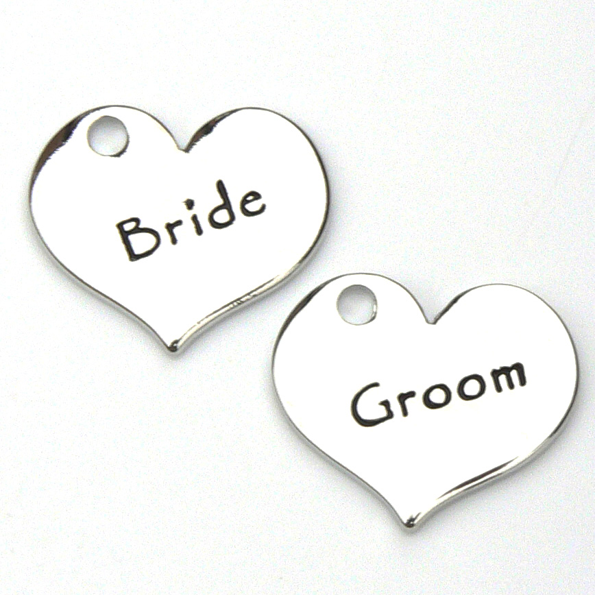 Bride and Groom Charms - Contemporary Style - Silver Plated