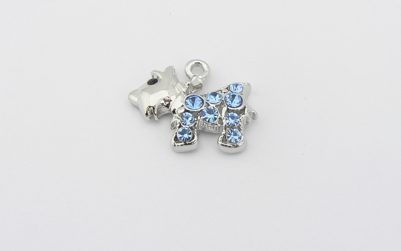 Dog Charm - Crystal Encrusted - Westie Scottie - Blue