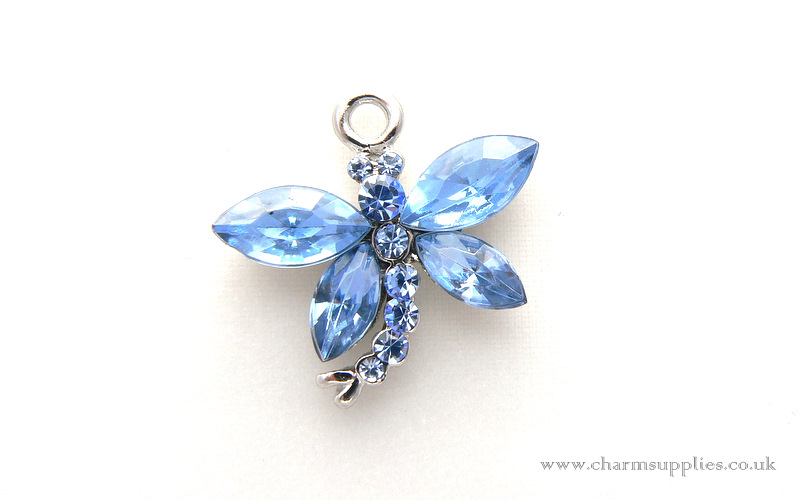 Dragonfly Charm - Crystal Encrusted - Blue