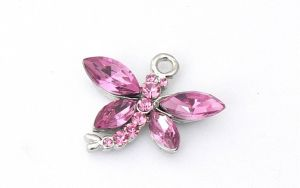 Dragonfly Charm - Crystal Encrusted - Pink
