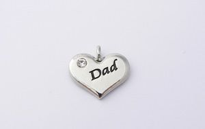 Dad Charm - Silver Plated and Crystal - Wedding Heart Charm
