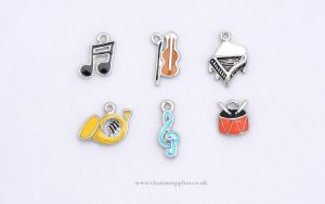 Music Charms - Enamel and Silver Plated - Set of 6 - Music