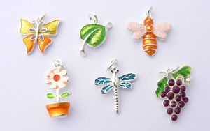 Garden Theme Charms - Enamel and Silver Plated - Set of 6