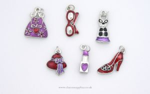 Girlie Charms - Enamel and Silver Plated - Set of 6