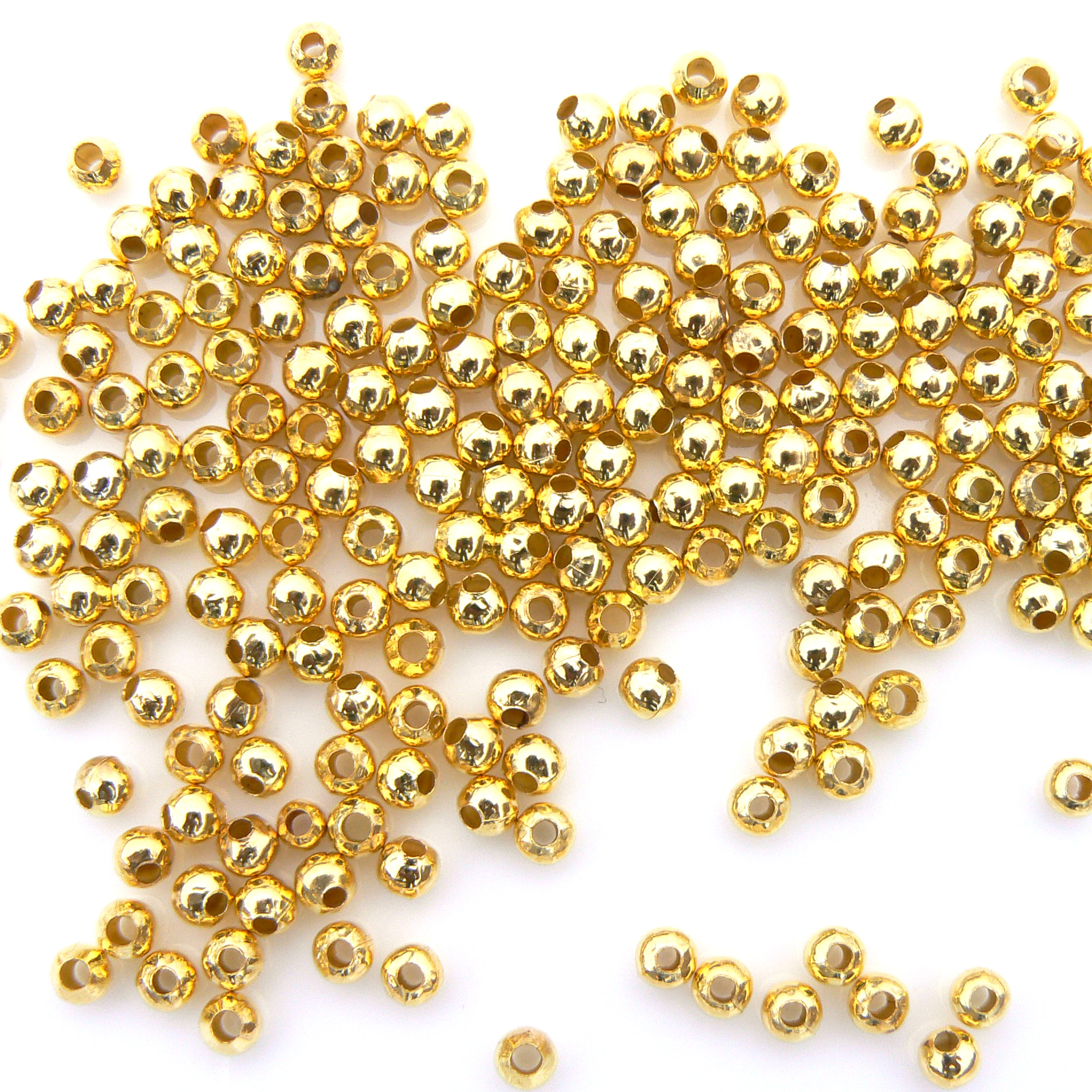 Metal Spacer Beads - Gold Plated - 200 - 4mm