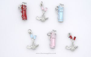 Golf Charms - Enamel and Silver Plated - Set of 6