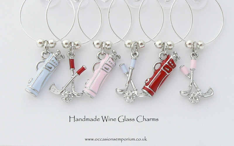 Golf Wine Glass Charms - with Gift Bag and Label