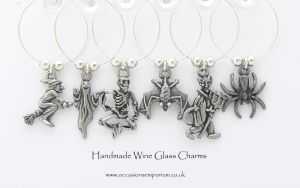 Gothic Wine Glass Charms - with Gift Bag and Label