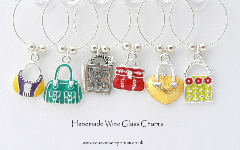 Enamel Handbag Wine Glass Charms - Gift Bag and Label