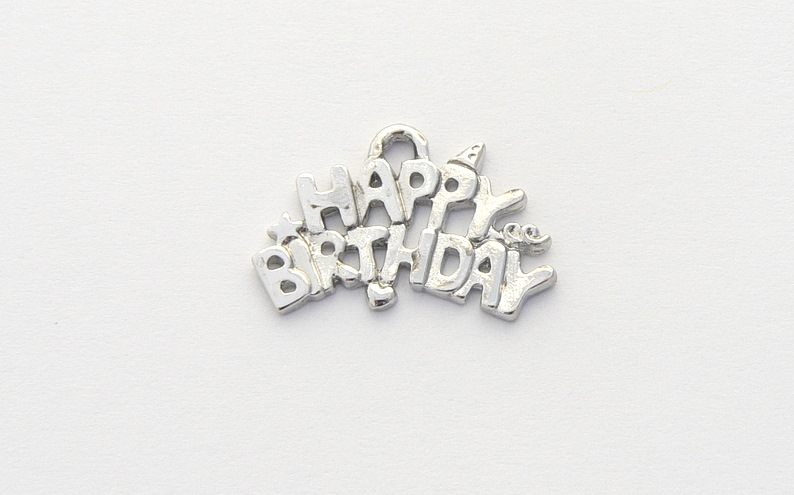 Happy Birthday Charm - Silver Plated