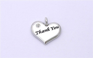 Wedding Heart Charm - Silver Plated and Crystal - Thank You