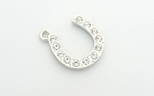 Horseshoe Charm - Crystal Encrusted - Clear