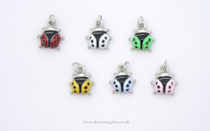 Ladybird Charms - Enamel and Silver Plated - Set of 6