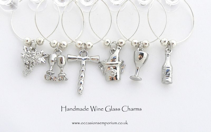 Classic wine glass charms silver wine glass charms