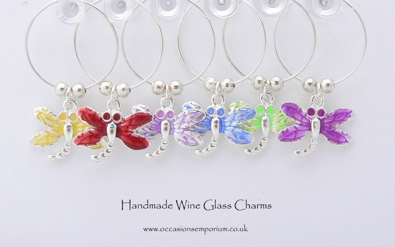 dragonfly wine glass charms enamel wine charms