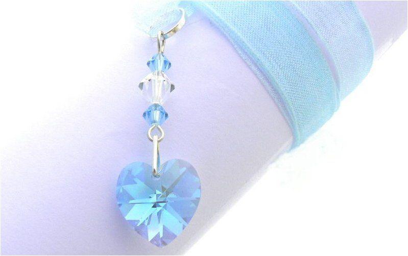 Blue Bridal Bouquet Charm : Something blue crystal heart wedding bouquet charm oe