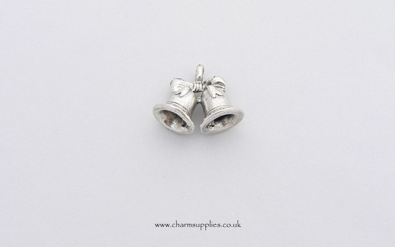 WEDDING BELLS CHARM Silver Plated 3D