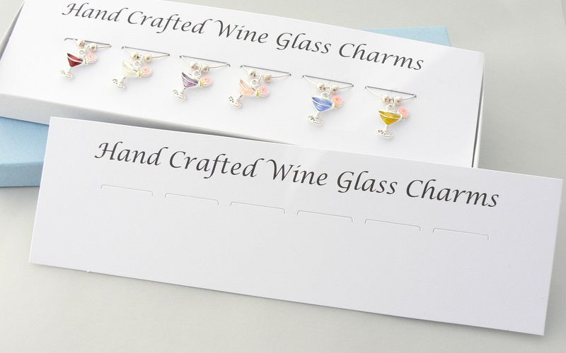 wine glass charms packaging mounting card and box