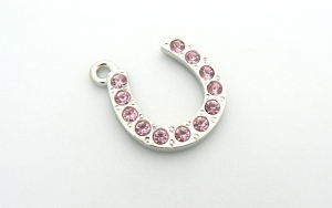 Horseshoe Charm - Crystal Encrusted - Pink
