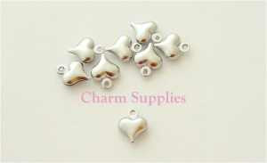 Puffed Heart Charms - Silver Plated - qty 10