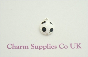 Football Charm - Silver Plate and Enamel - Soccer Ball