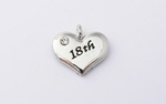 18th Charm - Silver Plated and Crystal - Birthday Heart Charm
