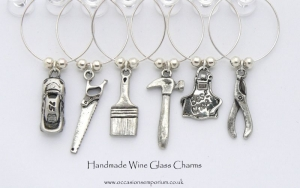 Boys Toys Wine Glass Charms - Mens Gift