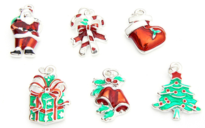 Christmas Charms - Enamel and Silver Plated - Set of 6