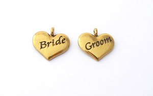 Wedding Heart Charms - Gold Plated Bride and Groom