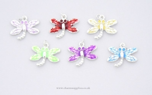 Dragonfly Charms - Enamel and Silver Plated - Set of 6