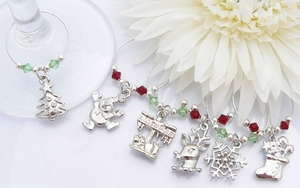 Christmas Wine Glass Charms - Red and Green Theme