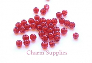 Glass Crackle Beads - 4mm - Red x 100