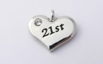 21st Charm - Silver Plated and Crystal - Birthday Heart Charm