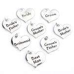 8 Wedding Heart Charms - Contemporary Style - Silver Plated