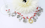 12 Days of Christmas Wine Glass Charms -with Gift Bag and Label