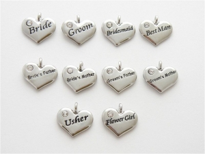 50 x SALE Wedding Heart Charms - Silver Plated and Crystal