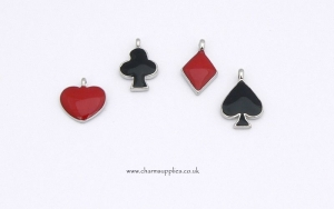 Card Suit Charms - Enamel and Silver Plated - Set of 4