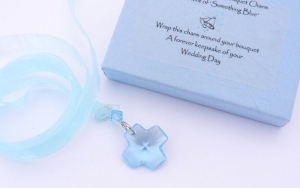 Crystal Cross BOUQUET CHARM - Something Blue Bridal Accessory