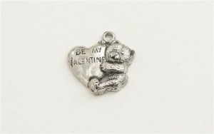 Be My Valentine Heart Teddy Bear Charm - Silver Plated