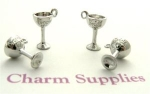 Bride and Groom Goblet Charms - Silver Plated