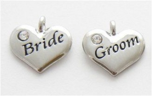 Wedding Heart Charms - Silver Plated Crystal - Bride and Groom