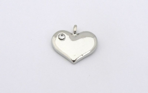 Wedding Heart Charm - Silver Plated and Crystal - Blank