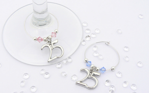25th Anniversary Wine Glass Charms