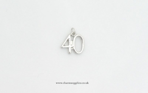Number 40 Charm - Silver Plated - 40th Birthday - Anniversary