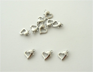LOBSTER CLASP - HEART - Silver Plated - 12mm
