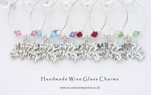 Happy Birthday Wine Glass Charms
