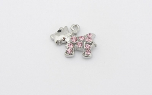 Dog Charm - Crystal Encrusted - Westie Scottie - Pink