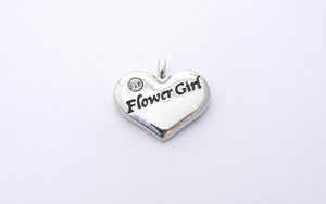 Wedding Heart Charm - Silver Plated and Crystal - Flower Girl