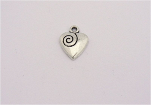 Heart and Swirl Charms - Silver Plated - Lead Free - Wedding